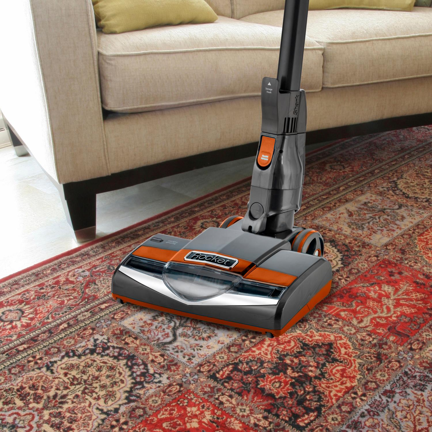 Shark HV302 Rocket Ultra-Light Corded Bagless Vacuum for Carpet and Hard Floor Cleaning with Swivel Steering and Car Detail Set, Gray/Orange (Renewed)