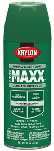 Krylon K09118000 COVERMAXX Spray Paint, Gloss Emerald Green, 12 Ounce